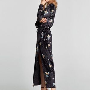 ZARA Velvet Floral Kimono Wrap Maxi Dress